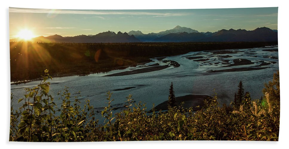 Photography Bath Sheet featuring the photograph Sunrise On Mnt Denali, Trapper Creek by Panoramic Images