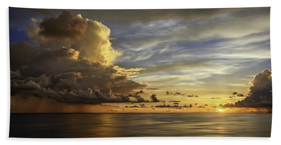 Landscape Hand Towel featuring the photograph Sunset At Sea by Maria Coulson