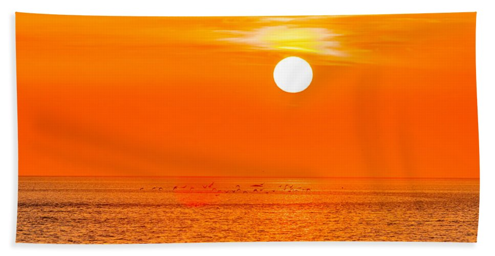 Sunset Hand Towel featuring the photograph Sunset At Sea With Multiple Color Prizm by Alex Grichenko