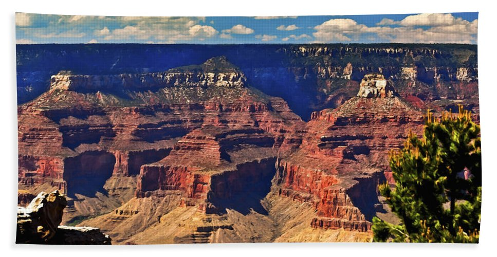 Angel Bath Sheet featuring the painting Sunset Grand Canyon by Bob and Nadine Johnston