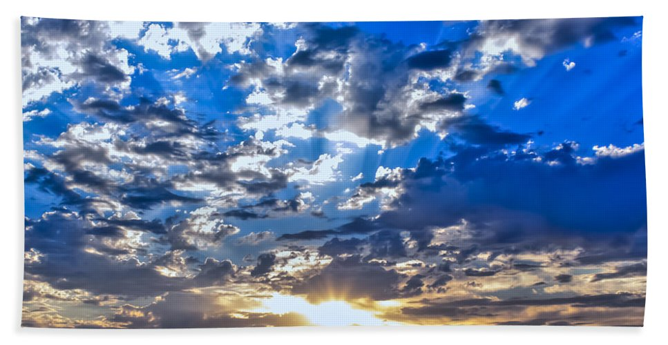Weather Bath Sheet featuring the photograph Sunset by Gregory Dean
