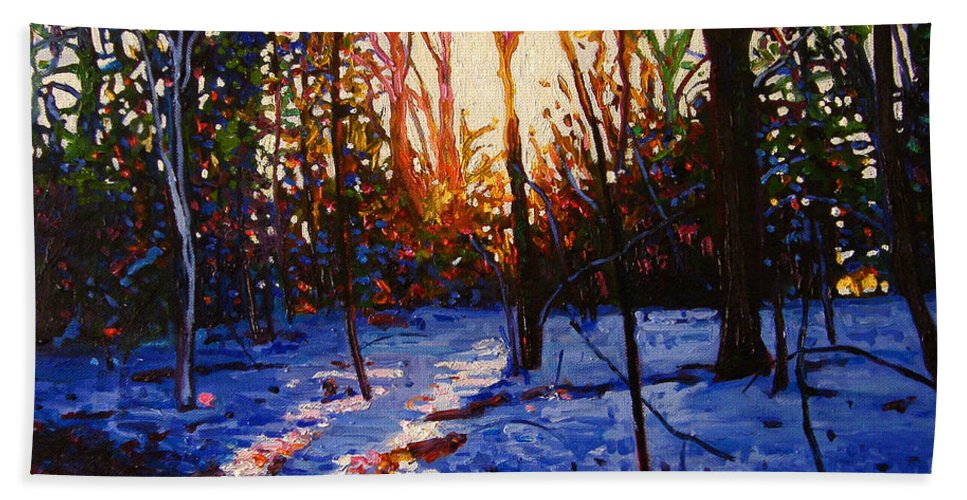 Woods Bath Sheet featuring the painting Sunset On Snow by Helen White