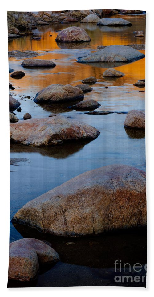 Nature Bath Sheet featuring the photograph Sunset Reflected In Stream, Arizona by John Shaw
