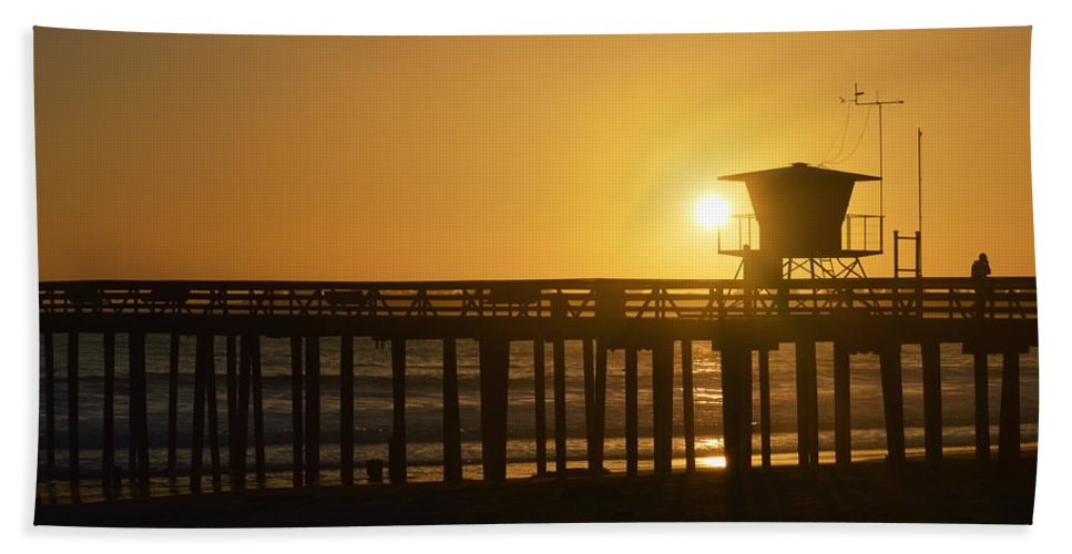 Scenic Hand Towel featuring the photograph Sunset On The Pier by AJ Schibig