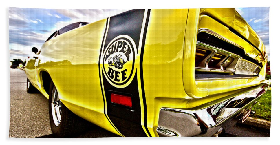 Dodge Hand Towel featuring the photograph Super Close Super Bee by Gordon Dean II
