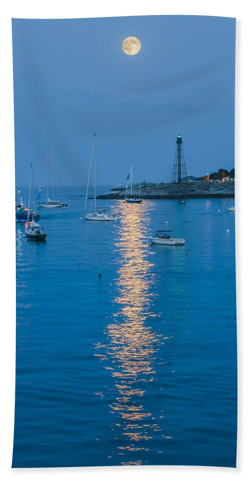 Supermoon Hand Towel featuring the photograph Supermoon At Marblehead Ma by Jean-Pierre Ducondi