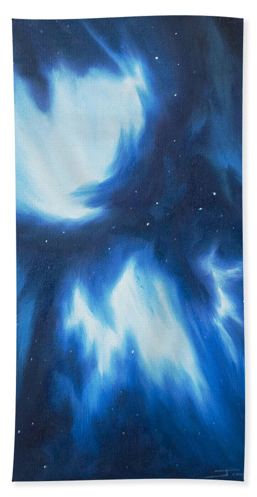 James Christopher Hill Hand Towel featuring the painting Supernova Explosion by James Christopher Hill