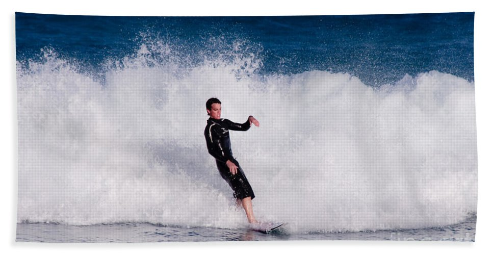 Florida Hand Towel featuring the photograph Surfer by Thomas Marchessault