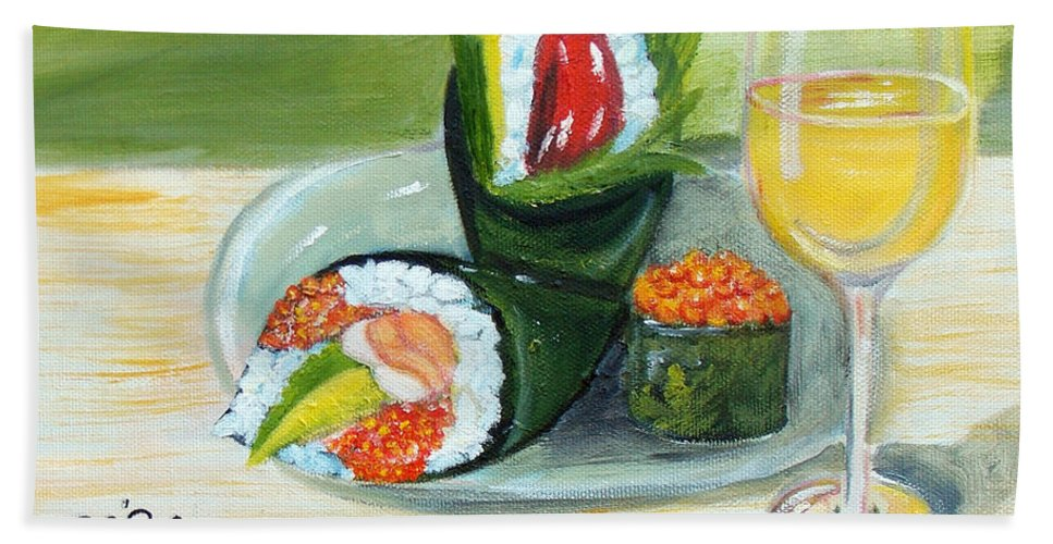 Sushi Bath Sheet featuring the painting Sushi 5 by To-Tam Gerwe