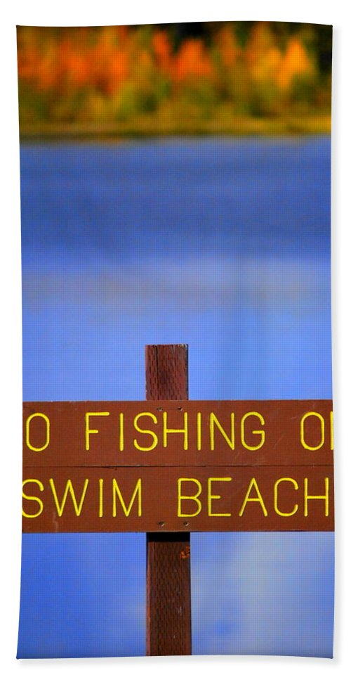 Lake Hand Towel featuring the photograph Swim Beach Sign II by Kathy Sampson