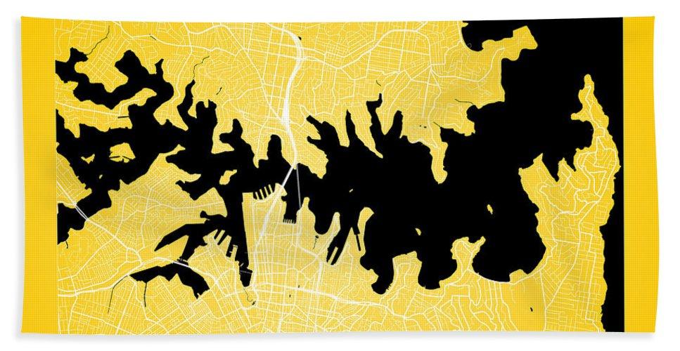 Road Map Hand Towel featuring the digital art Sydney Street Map - Sydney Australia Road Map Art On Color by Jurq Studio