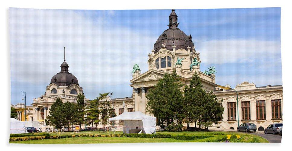 Szechenyi Bath Sheet featuring the photograph Szechenyi Baths In Budapest by Artur Bogacki