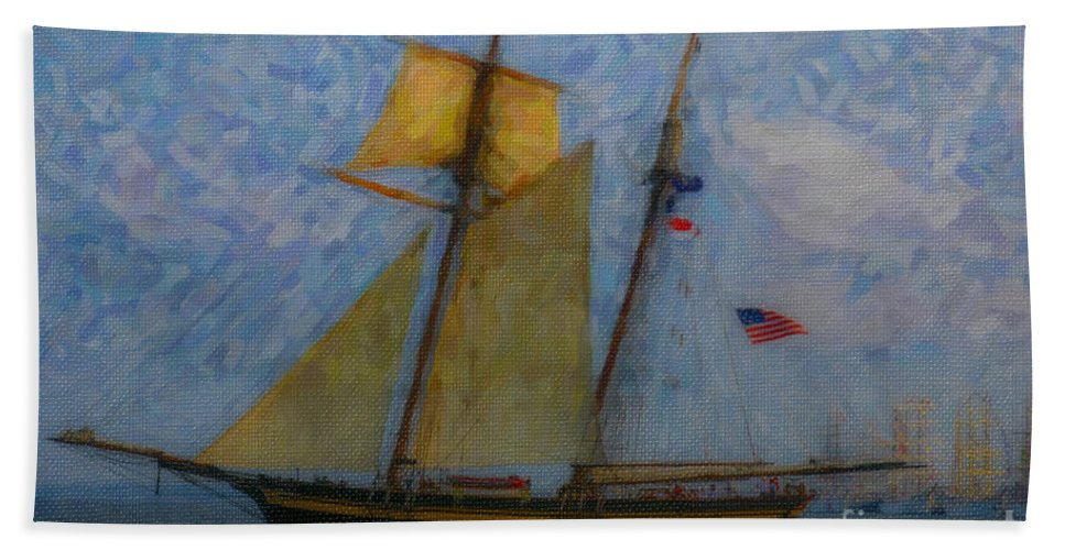 Tall Ship Hand Towel featuring the digital art Tall Ship Sailing by Dale Powell