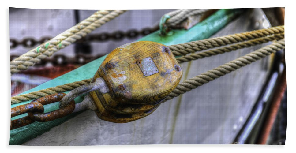 Tall Ship Hand Towel featuring the photograph Tall Ship Wooden Line Block by Dale Powell