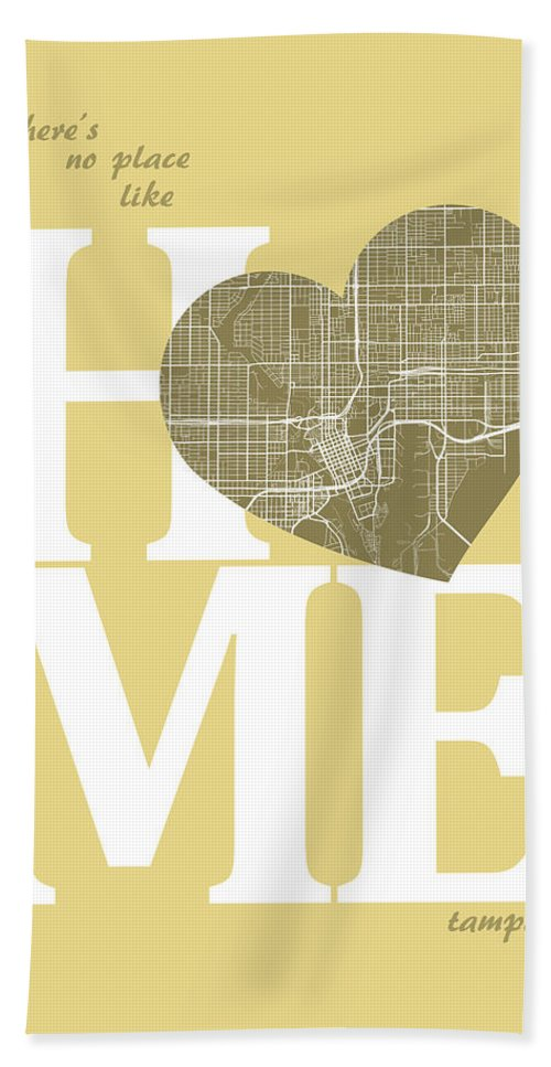 Road Map Hand Towel featuring the digital art Tampa Street Map Home Heart - Tampa Florida Road Map In A Heart by Jurq Studio