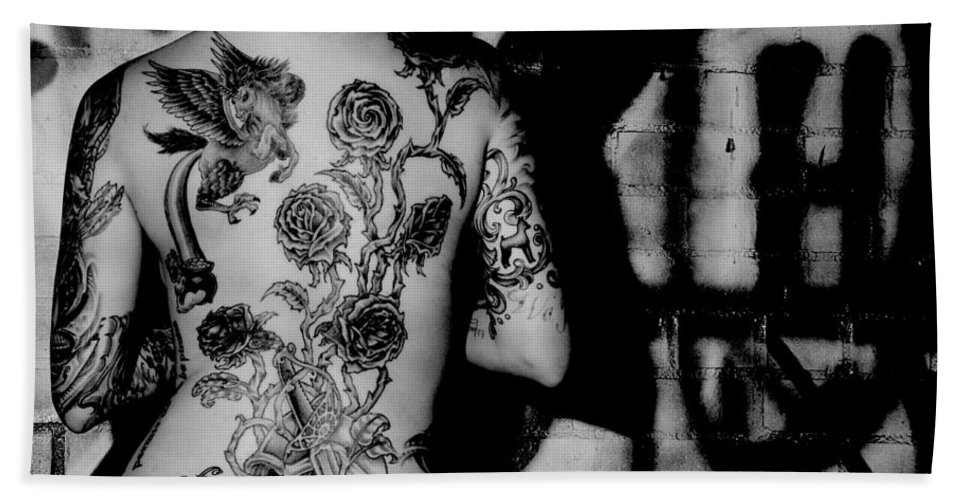 Tattoo Hand Towel featuring the photograph Tattoo Graffiti by Eric Albright