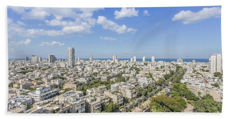 Elevated Bath Sheet featuring the photograph Tel Aviv Israel Elevated View by Sv