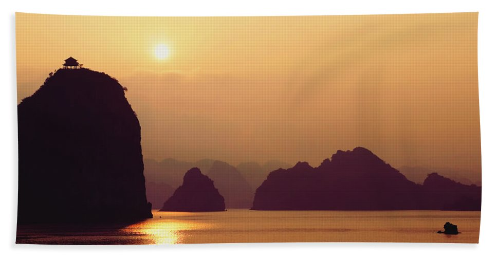 Buddhism Hand Towel featuring the photograph Temple At Sunset by Skip Nall