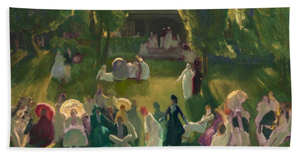 George Bellows Hand Towel featuring the painting Tennis At Newport by George Bellows