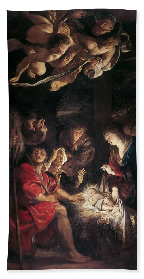 Peter Paul Rubens Bath Sheet featuring the painting The Adoration Of The Shepherds by Peter Paul Rubens