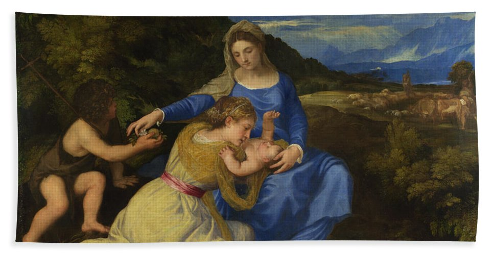 Titian Hand Towel featuring the painting The Aldobrandini Madonna by Titian