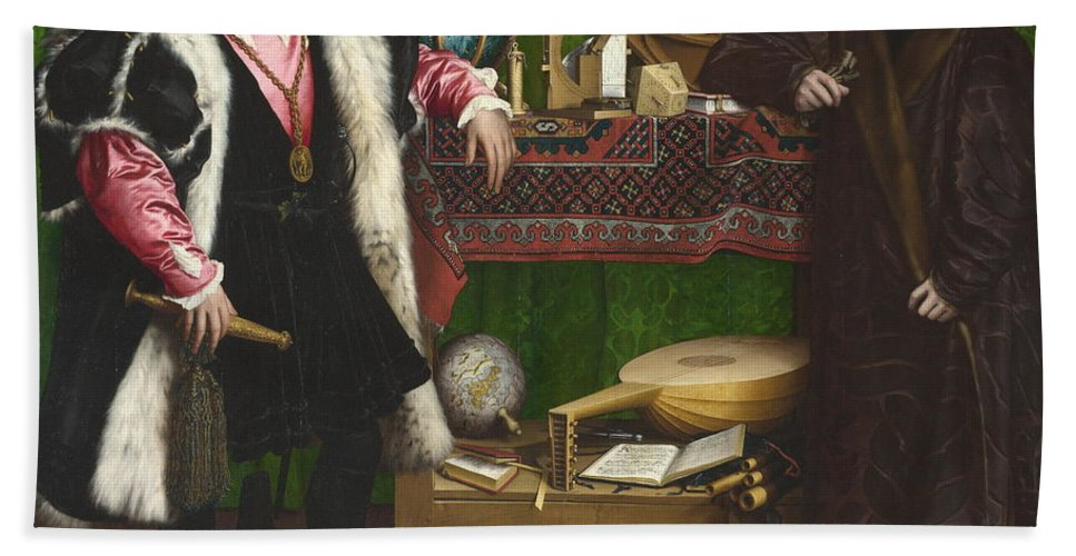 Portrait Hand Towel featuring the painting The Ambassadors by Hans Holbein the Younger