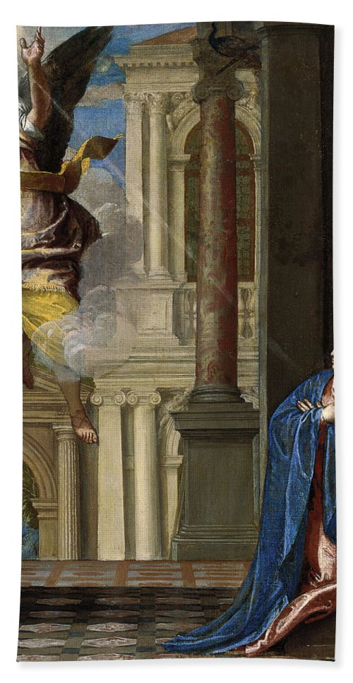 Paolo Veronese Bath Sheet featuring the painting The Annunciation by Paolo Veronese