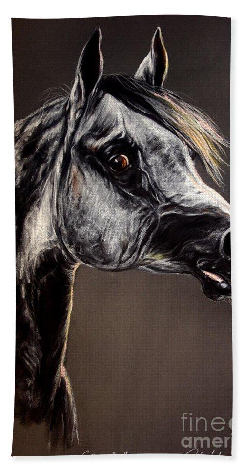 Horse Hand Towel featuring the drawing The Arabian Horse by Angel Ciesniarska