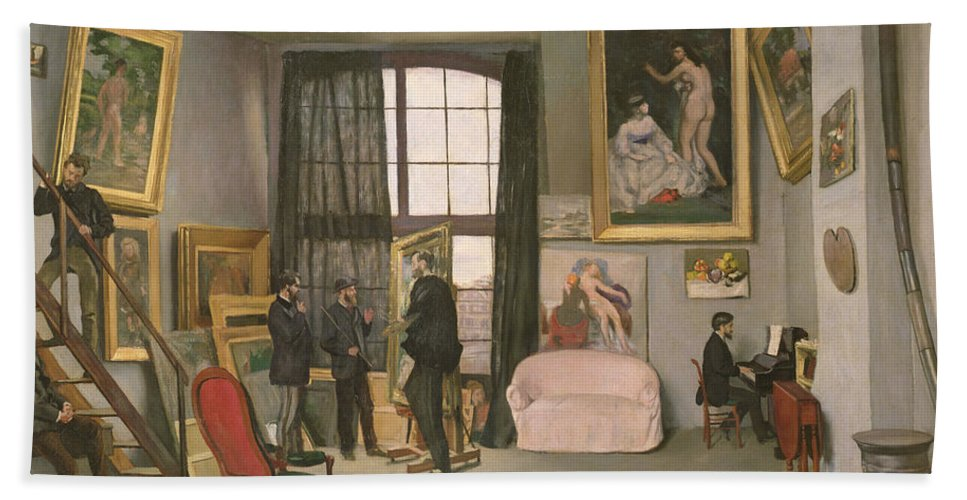 Studio Bath Sheet featuring the painting The Artist's Studio by Jean Frederic Bazille