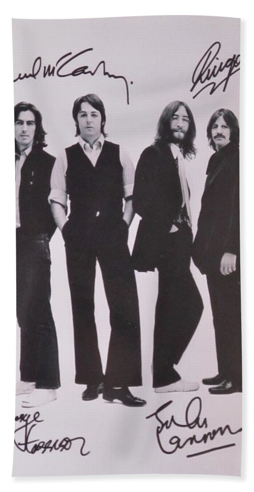 The Beatles Bath Towel featuring the photograph The Beatles by Donna Wilson