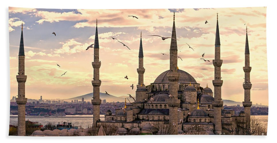 Arabic Hand Towel featuring the photograph The Blue Mosque - Istanbul by Luciano Mortula