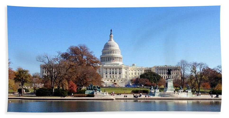 The Capitol Building Bath Sheet featuring the photograph The Capitol by Lois Ivancin Tavaf