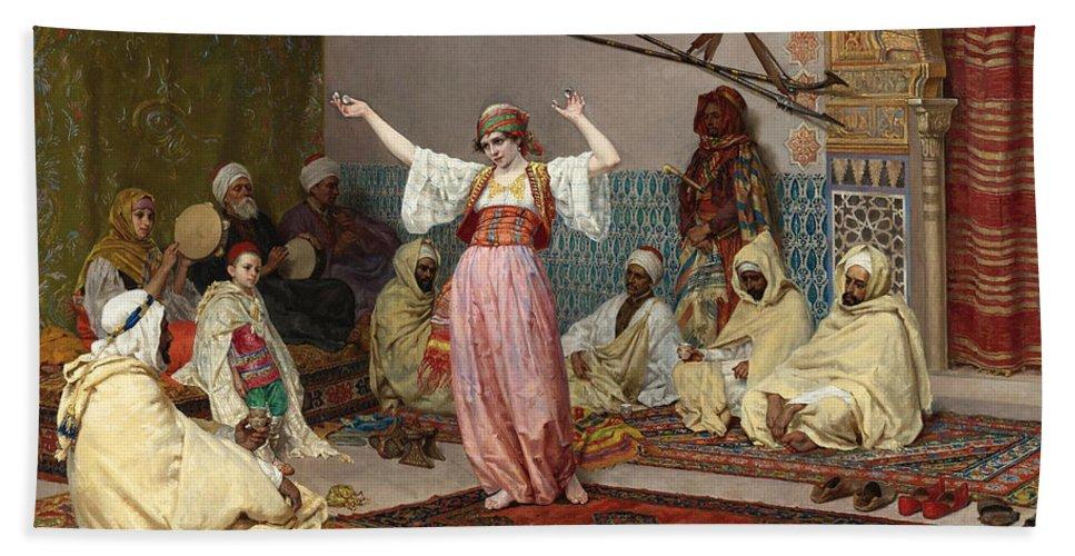 Giulio Rosati Bath Sheet featuring the painting The Dance by Giulio Rosati