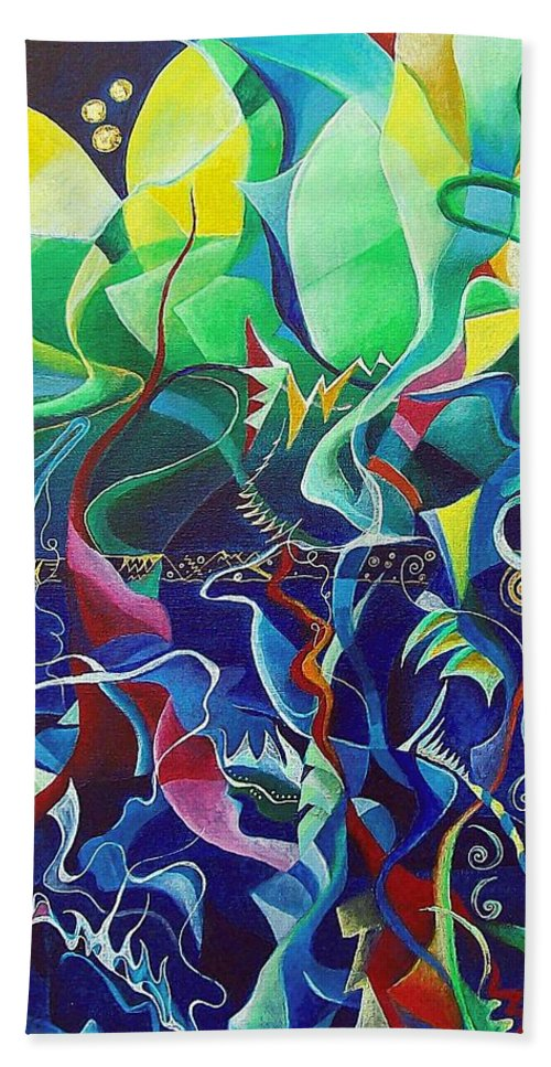 Darius Milhaud Hand Towel featuring the painting the dreams of Jacob by Wolfgang Schweizer
