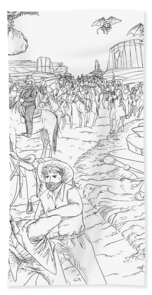 The Wurtherington Diary: The California Gold Rush Fantasy Bath Sheet featuring the drawing The Fifty Marshals by Reynold Jay