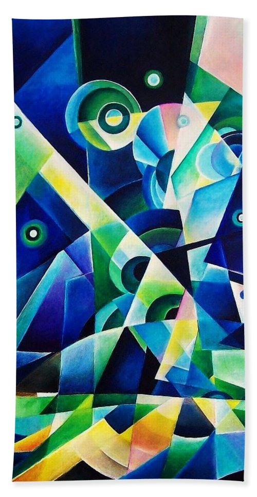 Gates Acrylics Abstract Bath Towel featuring the painting The Gates by Wolfgang Schweizer