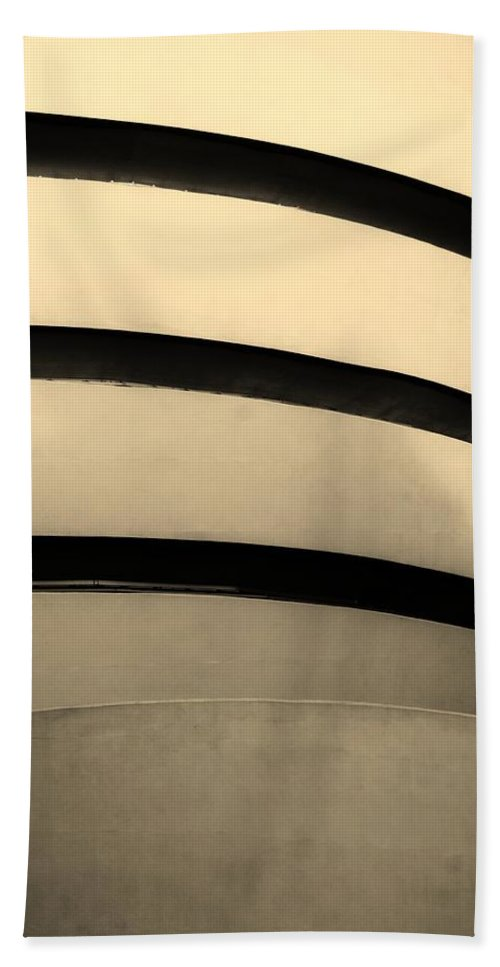 Scenic Hand Towel featuring the photograph The Guggenheim In Sepia by Rob Hans
