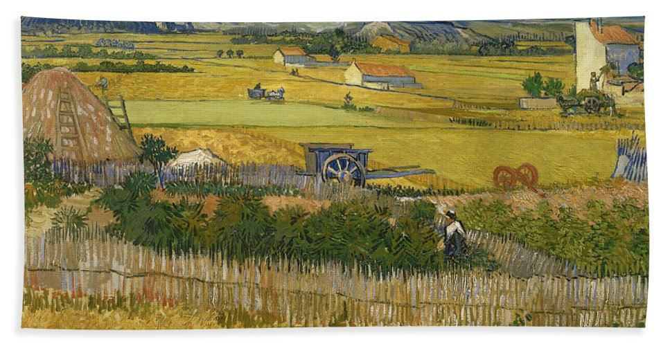 Vincent Van Gogh Hand Towel featuring the painting The Harvest by Vincent van Gogh
