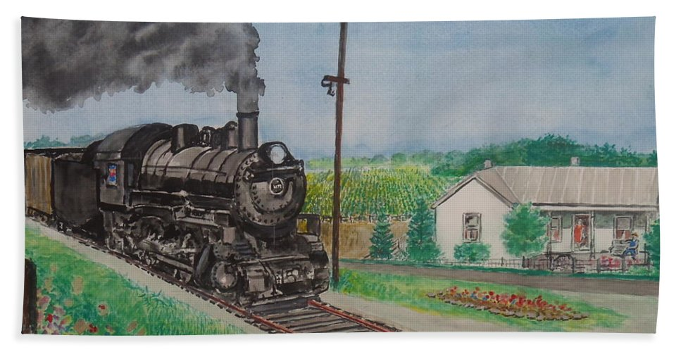 Norfolk And Western Hillsboro Branch Local Ohio Sardinia Walker Jacobs Home My Birthplace White Oak Creek Bath Sheet featuring the painting The Hillsboro Local Passing My Birthplace At Sardinia by Frank Hunter