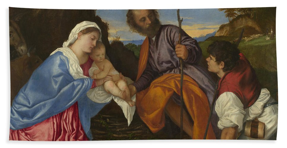 Titian Hand Towel featuring the painting The Holy Family With A Shepherd by Titian