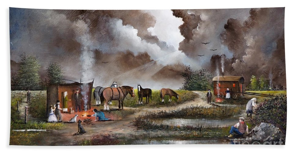 Countryside Bath Towel featuring the painting The Horse Traders by Ken Wood