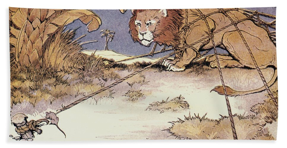 Aesop Bath Sheet featuring the photograph The Lion And The Mouse by Granger