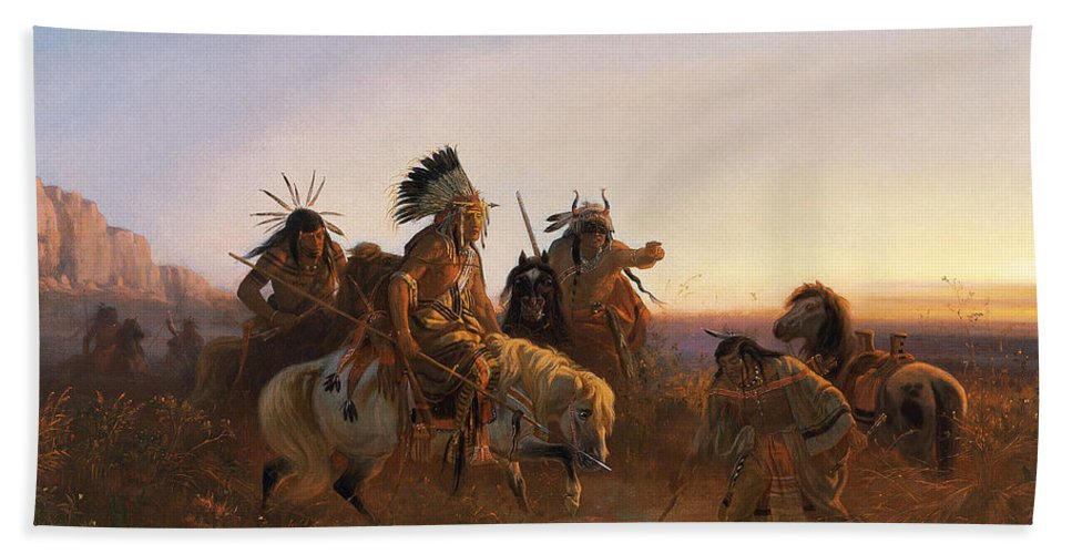 Karl Ferdinand Wimar Bath Sheet featuring the painting The Lost Trail by Karl Ferdinand Wimar