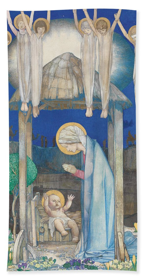 Nativity Hand Towel featuring the painting The Nativity by Edward Reginald Frampton