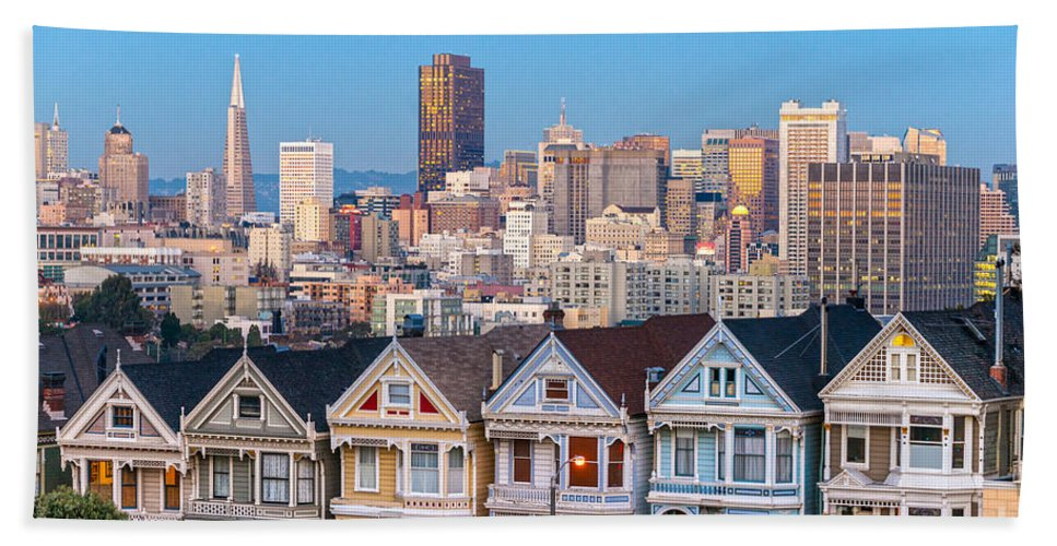 Francisco Hand Towel featuring the photograph The Painted Ladies Of San Francisco by Luciano Mortula
