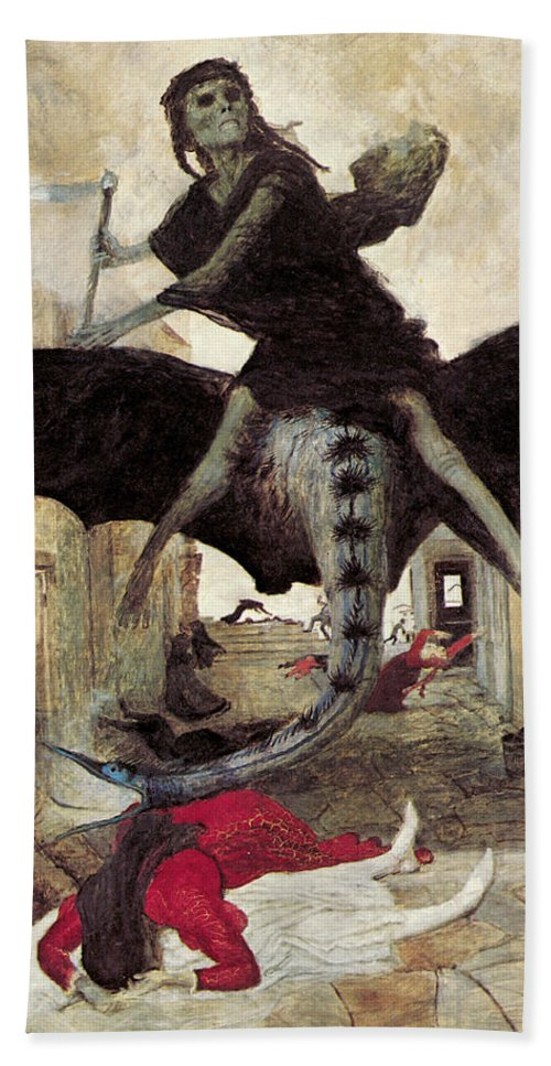The Plague Hand Towel featuring the digital art The Plague by Arnold Bocklin