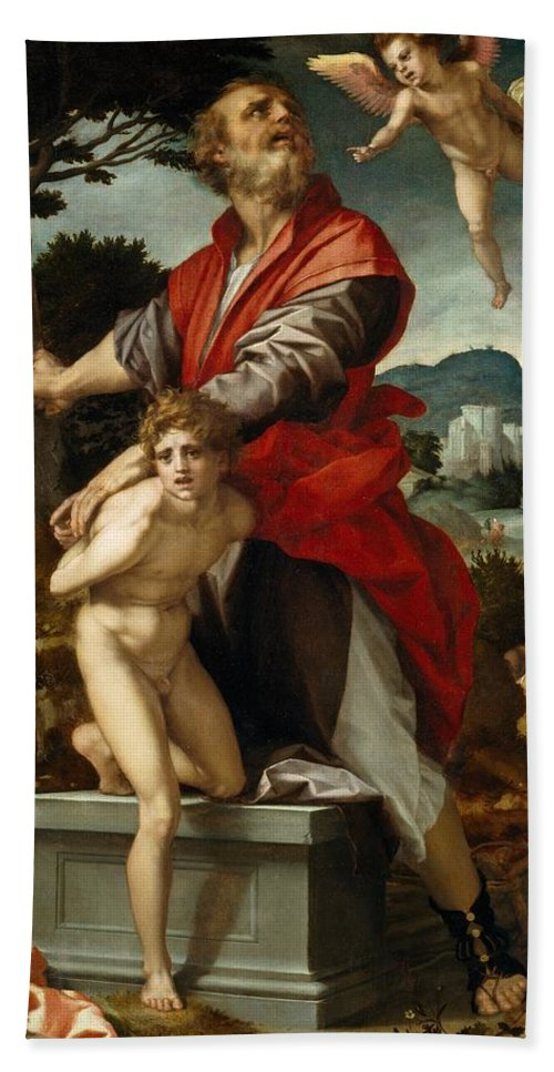 1528 Hand Towel featuring the painting The Sacrifice Of Isaac by Andrea del Sarto
