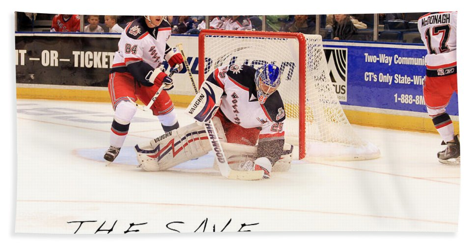 Ice Hockey Bath Sheet featuring the photograph The Save by Karol Livote