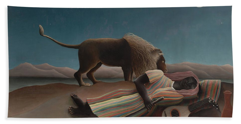 Henri Rousseau Hand Towel featuring the painting The Sleeping Gypsy by Henri Rousseau