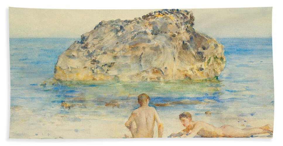 The Sunbathers Hand Towel featuring the painting The Sunbathers by Henry Scott Tuke